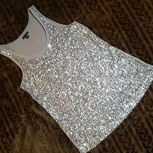 Express Silver Sequin Tank (XS)